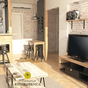 dnevni prostor - industrijski (loft) stil