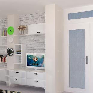 TV polica rađena po meri - realistični 3D model enterijera - online dizajn