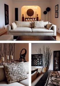 uređenje dnevne sobe u etno afričkom stilu