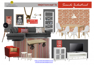 dnevna soba- kombinacija industrijskog i skandinavskog stila