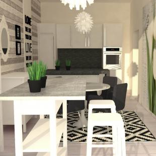 crno-bela kuhinja i trpezarija