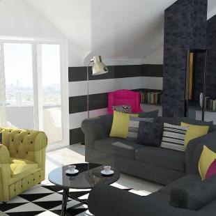 dnevna soba i trpezarija u glamur stilu