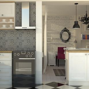 deo kuhinje u etno-skandinavskom stilu - online dizajn enterijera - 3D model