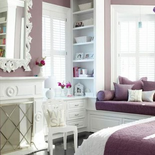 belo ljubičasta spavaća soba