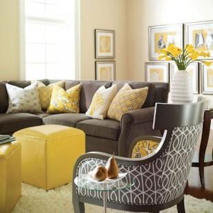 dnevna soba sa žutim detaljima