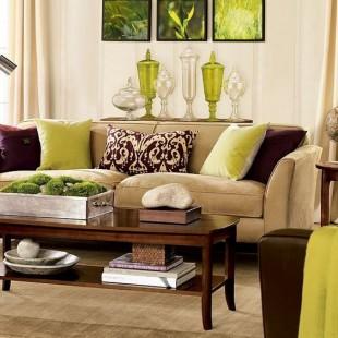 klasična dnevna soba sa svetlo zelenim detaljima