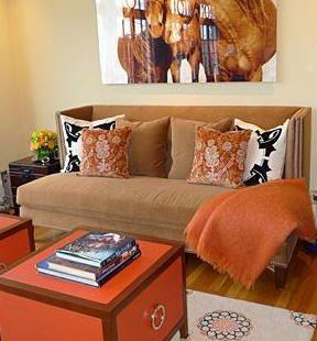 narandžasti akcenti u dnevnoj sobi