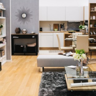 dnevna soba trpezarija i kuhinja u neutralnim bojama