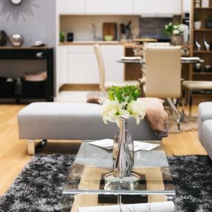siva boja u dnevnoj sobi