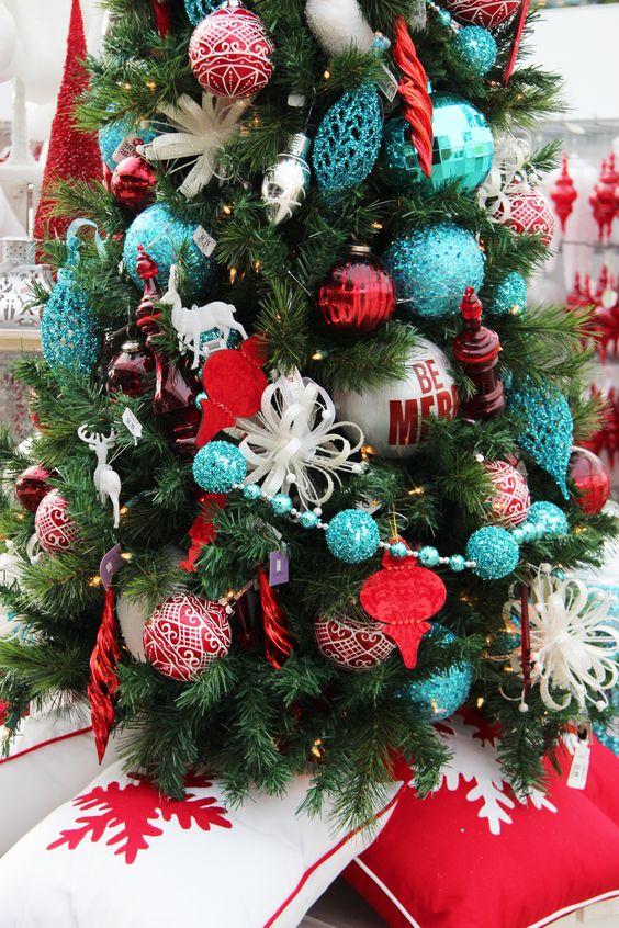 crveno tirkizna novogodišnja dekoracija 14