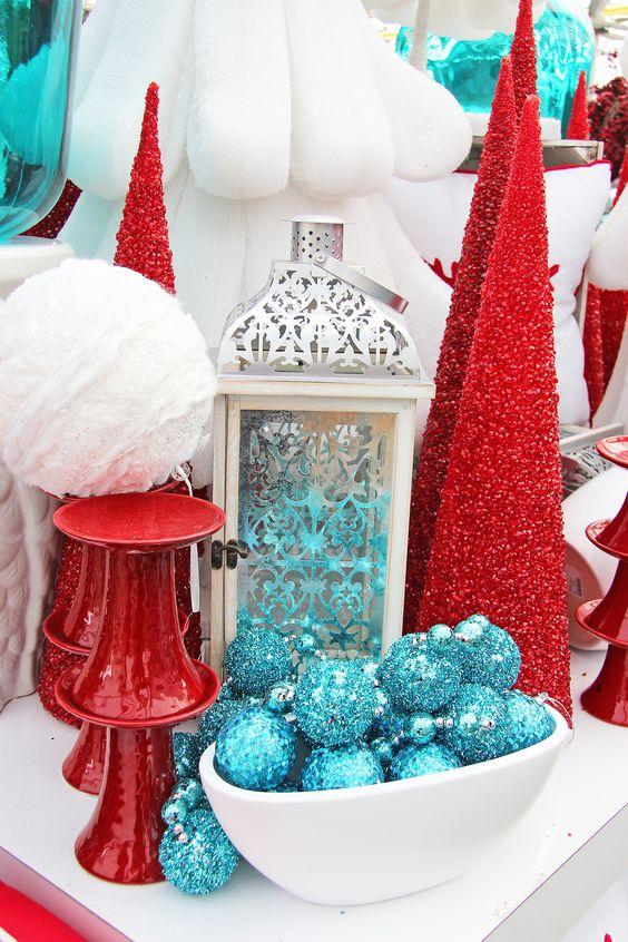 crveno tirkizna novogodišnja dekoracija 7