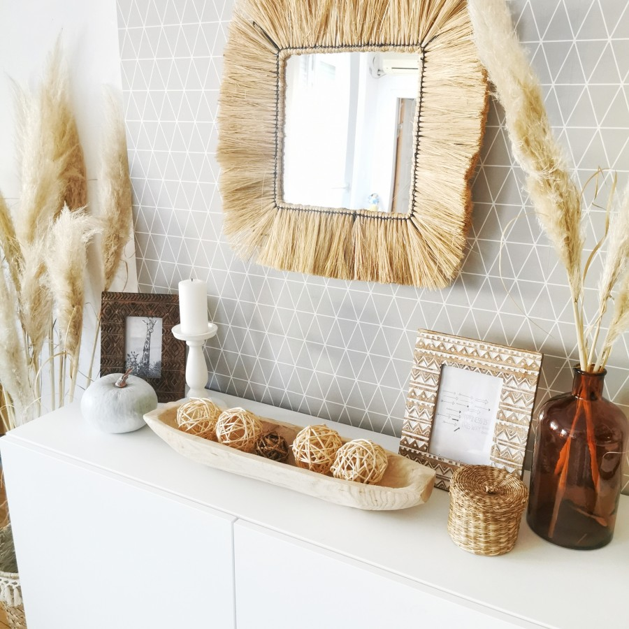 dekoracija komode - pampas trava