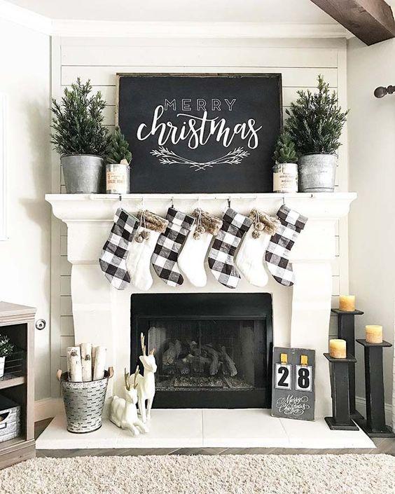novogodišnja dekoracija - crno beli karo